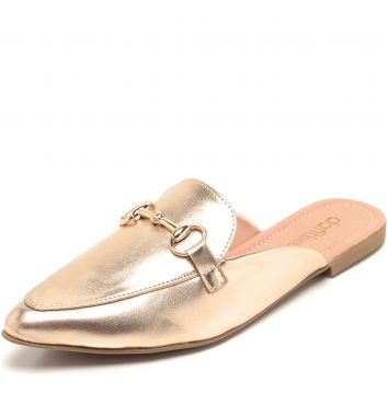 Mule DAFITI SHOES Bico Fino Dourado DAFITI SHOES
