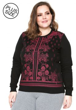 Moletom Flanelado Fechado WEE! Estampado Plus Size Preto WE