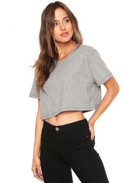 Camiseta Cropped Be Red Relevo Cinza Be Red