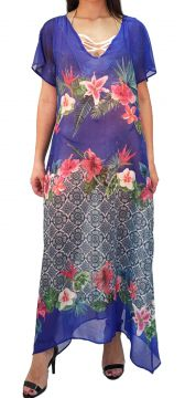 Vestido 101 Resort Wear Estampado Azul 101 Resort Wear