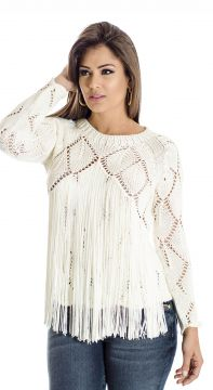 Blusa Tricot Ateen Franja Off White ATEEN