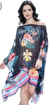 Kaftan 101 Resort Wear Vestido Floral Preto 101 Resort Wear
