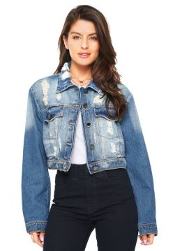 Jaqueta Cropped Jeans dimy Destroyed Azul dimy