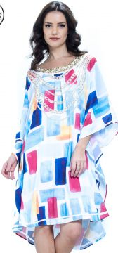 Vestido 101 Resort Wear Kaftan Decote Bordado Plus Size Geo