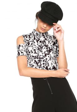 Blusa Cropped My Favorite Thing(s) Off Shoulder Branca/Pret