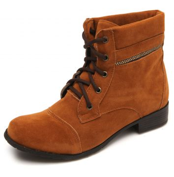 Bota Coturno DAFITI SHOES Recortes Caramelo DAFITI SHOES