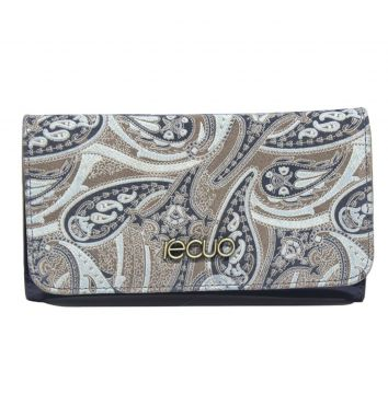 Carteira Recuo Fashion Bag Floral Cinza Recuo Fashion Bag