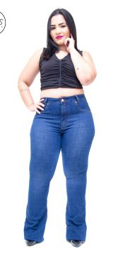 Calça Jeans Cambos Plus Size Flare Joilma Azul Cambos