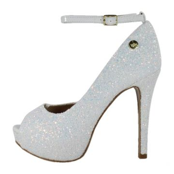 Peep Toe Week Shoes Meia Pata Glitter Furtacor Branco Corte
