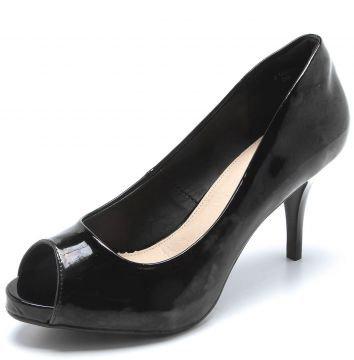 Peep Toe Facinelli by MOONCITY Verniz Preto Facinelli by MO