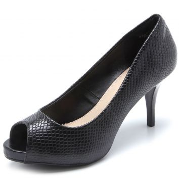 Peep Toe Facinelli by MOONCITY Snake Preto Facinelli by MOO