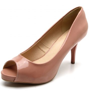 Peep Toe Facinelli by MOONCITY Verniz Rosa Facinelli by MOO