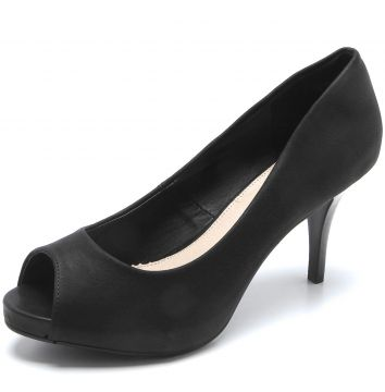 Peep Toe Facinelli by MOONCITY Liso Preto Facinelli by MOON