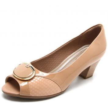 Peep Toe Piccadilly Fivela Bege Piccadilly