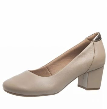 Sapato Salto Grosso Doctor Shoes 278 Bege Doctor Shoes