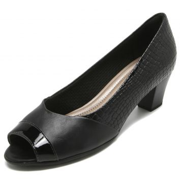 Peep Toe Piccadilly Croco Preto Piccadilly