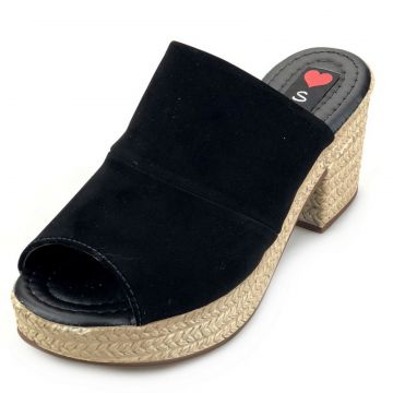 Tamanco Love Shoes Salto Bloco Meia Pata Plataforma Mule No