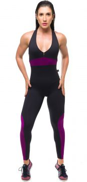Macacão Sandy Fitness Absolut Violet Preto Sandy Fitness