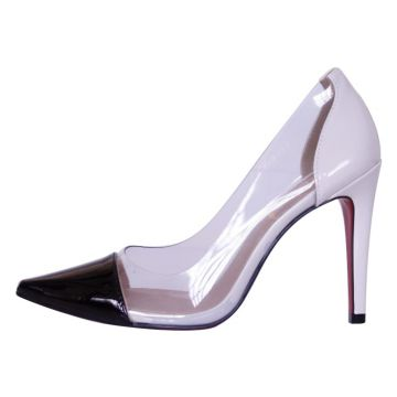 Scarpin Salto Alto Week shoes Bicolor Transparente Preto e