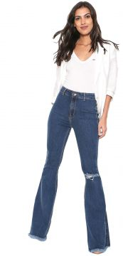 Calça Jeans My Favorite Thing(s) Flare Destroyed Azul My Fa