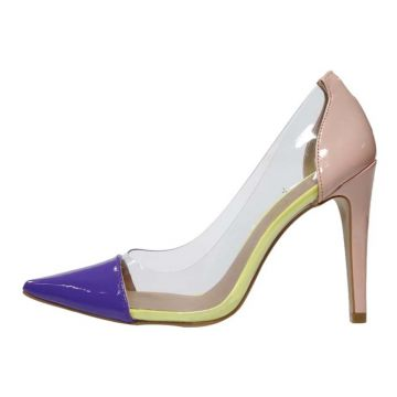 Scarpin Week shoes Salto Alto Bicolor Transparente Rosê e R