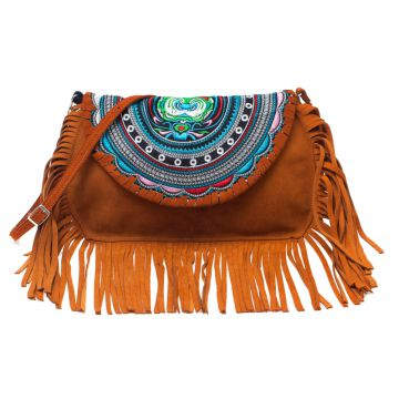 Bolsa Transversal Sneak Peek Fringe Marrom Sneak Peek