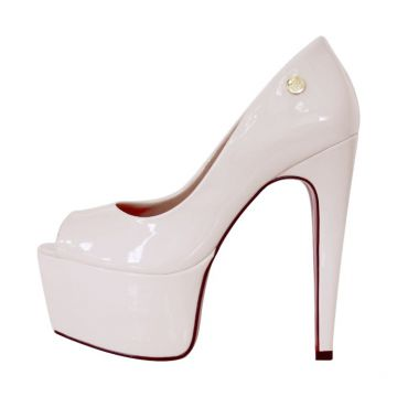 e6411328d2 Peep Toe Week Shoes Meia Pata Salto 15 Off White Week shoes