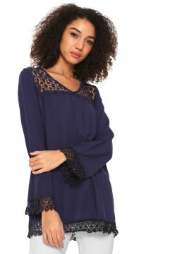 Blusa Queens Paris Renda Azul-marinho Queens Paris