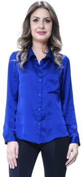 Camisa 101 Resort Wear Social Lisa Cetim Azul 101 Resort We