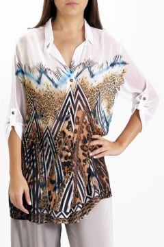 Camisa 101 Resort Wear Estampada Manga 3/4 Animal Marrom 10