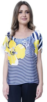 Blusa 101 Resort Wear Estampada Floral Listrado Azul 101 Re