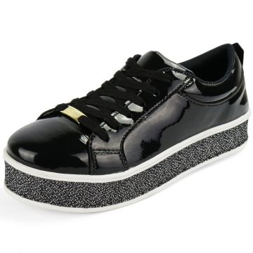 Tênis CR Shoes Flatform Confort Verniz Preto CR Shoes