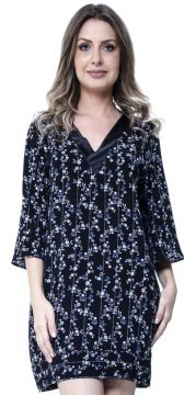 Kaftan 101 Resort Wear Vestido Preto Floral 101 Resort Wear