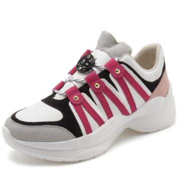 Tênis Couro Jorge Bischoff Dad Sneaker Chunky Branco/Rosa/P