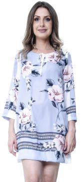 Kaftan 101 Resort Wear Vestido Floral Cinza 101 Resort Wear