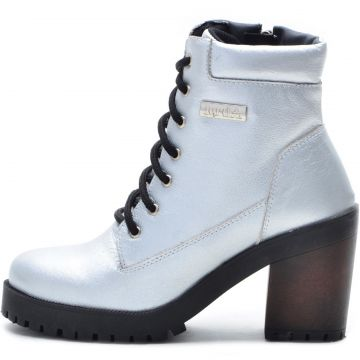 Bota Coturno Atron Shoes 9404 Prata Atron Shoes