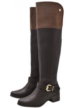 Bota Over The Knee Corazzi Leather Deluxe Fivela Café Coraz