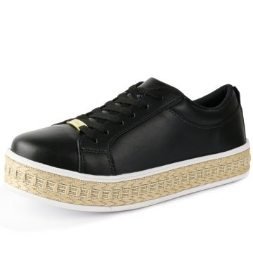 Tênis CR Shoes Flatform Confort Pelice Preto CR Shoes