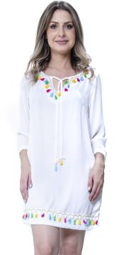 Kaftan 101 Resort Wear Off com Tassels Coloridos 101 Resort