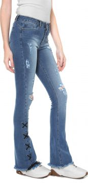 Calça Jeans Planet Girls Flare Lace Up Azul Planet Girls