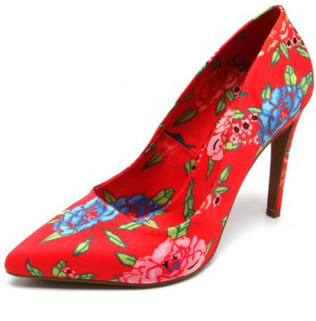 Scarpin THE HILLS Floral Vermelho THE HILLS