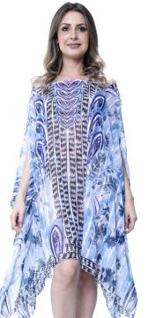 Kaftan 101 Resort Wear Vestido Etnico Azul 101 Resort Wear