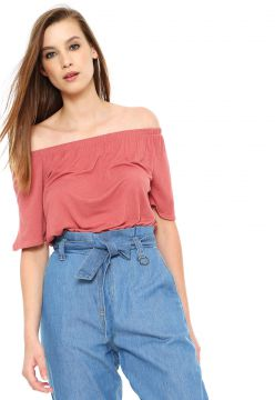 Blusa Cropped AMBER Ombro a Ombro Rosa AMBER