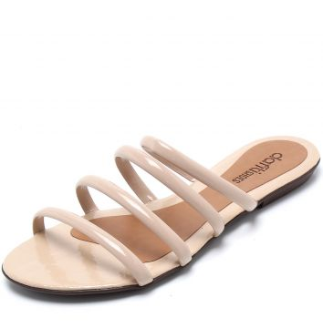 Rasteira DAFITI SHOES Tiras Nude DAFITI SHOES