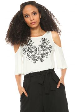 Blusa Hering Off Shoulder Floral Off-white Hering