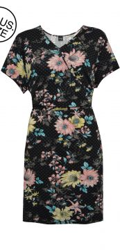 Vestido Rovitex Plus Curto Floral Preto Rovitex Plus