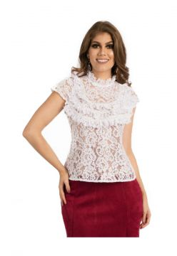 Blusa Miss Lady Renda Branca com Pérolas Miss Lady