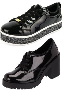 Kit CR Shoes Tênis Platform Oxford Verniz Preto CR Shoes