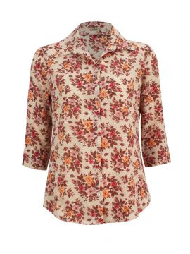 Camisa Intens Manga 3/4 Crepe Bubble Floral Bege Intens