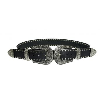 Cinto Higher Material Sintético Double Buckle Preto Higher